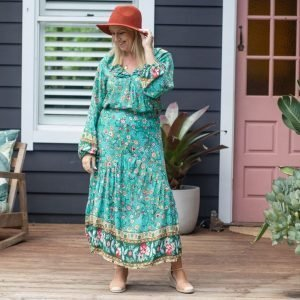 skirt and top set in green willow