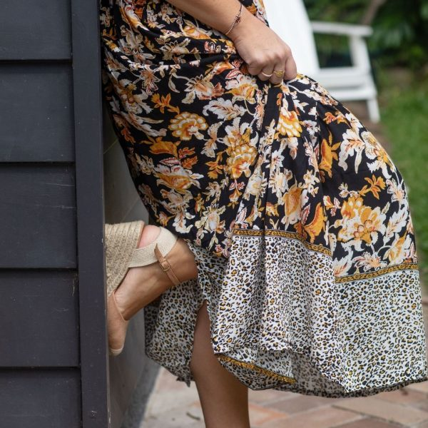 black maxi skirt with gold flowers and animal print band