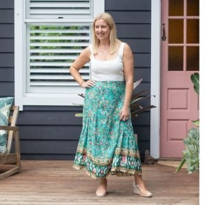green maxi skirt with floral print